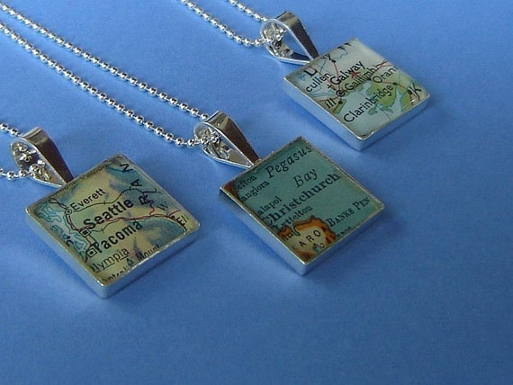 Square Map Necklace   Vintage Atlas Sterling Silver  Custom  Location Made to Order