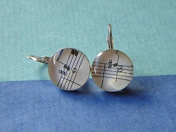 Petite  Vintage  Sheet Music Earrings in Sterling Silver