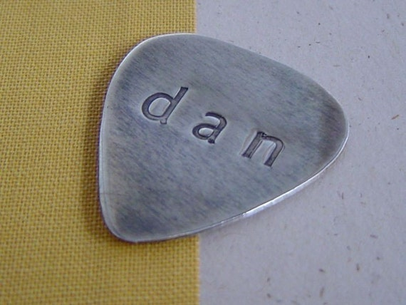 Guitar pick Sterling silver monogrammed and hand cut