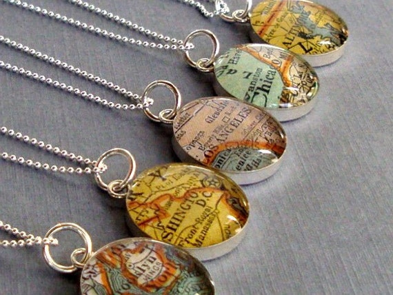 Map Necklace Sterling Silver  Vintage Atlas You Choose the City or Town
