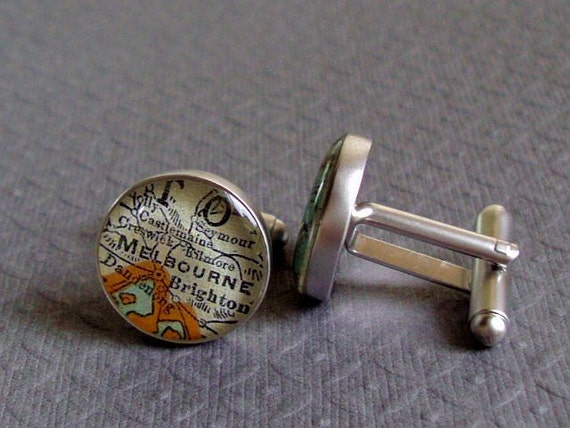 Vintage Map Cufflinks Handmade Melbourne and Sydney   Recycled Sterling Silver
