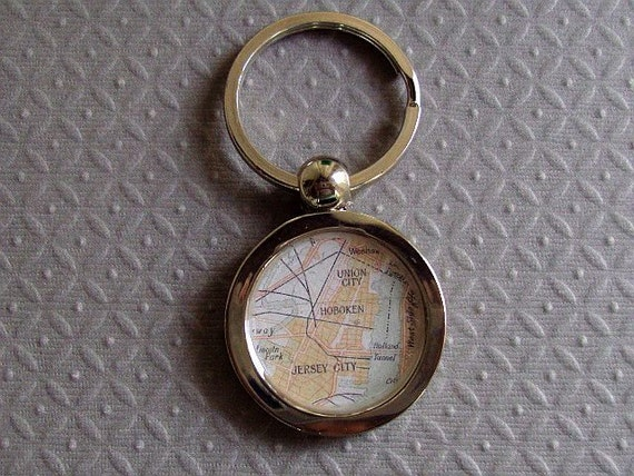 Map Key Ring  Hoboken Jersey City Union New Jersey  Stainless Steel Vintage  Atlas Ready to Ship