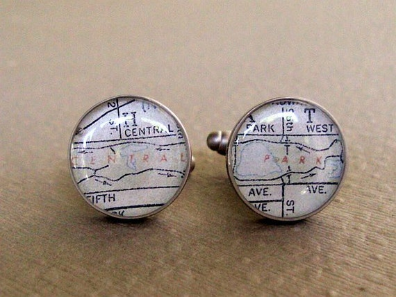 Central Park Cufflinks Vintage New York Map  Recycled Sterling Silver Last Pair on Sale