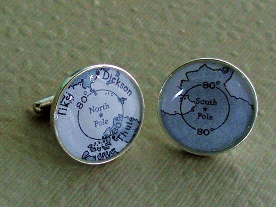 Sterling Silver Cufflinks North Pole South Pole   Vintage Explorer Maps