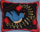 Primitive Needle Punch Pillow Bluebird and Flowers