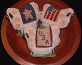 Primitive Sheep Needle Punch PATTERN Americana Ornies