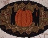 Primitive Needle Punch Table Mat Fall Kitty and Pumpkin