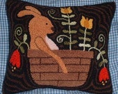 Primitive Needle Punch PATTERN Spring Bunny in a Basket of Tulips