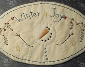 Stitchery Candle Mat Winter Joy Primitive Snowman