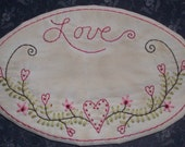 Valentine Stitchery Candle Mat PATTERN Love Hearts