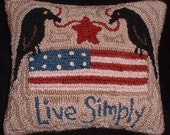 Americana Crows Primitive Needle Punch Pillow -  Flag - Live Simply