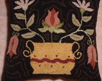 Primitive Needle Punch Pillow Pin Keep Pot ot Tulips and Daisies