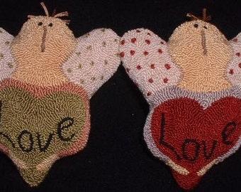 2 Primitive Needle Punch Valentine Angels Polka Dots