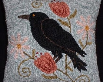 Primitive Punch Needle Pillow Crow Among the Daisies