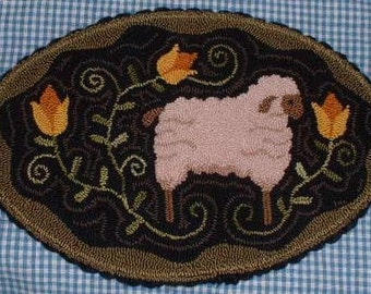 Primitive Needle Punch Candle Mat Sheep Among The Tulips