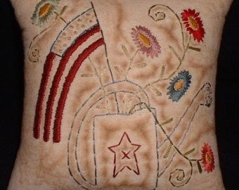 Primitive Stitchery PATTERN - Americana Watering Can - Flag - Flowers