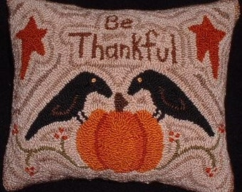 Primitive Needle Punch PATTERN BE Thankful Crows and Pumpkin