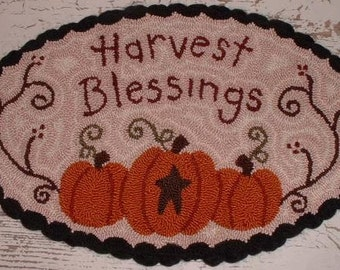 Fall Pumpkin Primitive Needle Punch Table Mat Harvest Blessings