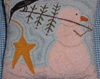 Primitive Needle Punch PATTERN Snowman and His Feather Tree