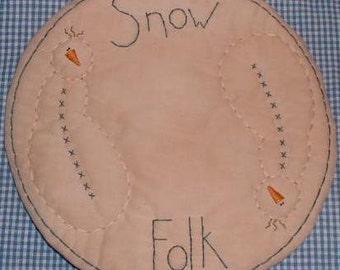 Primitive Stitchery Candle Mat Snowmen Snowfolk