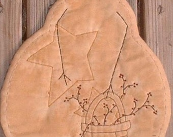 Primitive Stitchery Candle Mat Snowman Basket of Berries Star