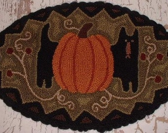 Primitive Needle Punch Mat PATTERN Black Cat and Pumpkin