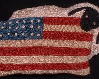 Americana Primitive Sheep Pillow - Finished Needle Punch Sheep and Flag