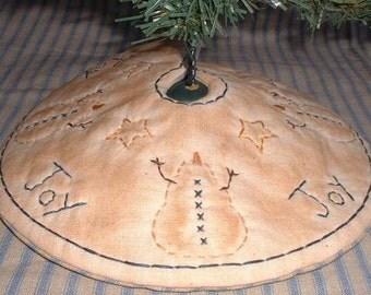 Primitive Stitchery Mini Tree Skirt Snowmen Joy Stars PATTERN