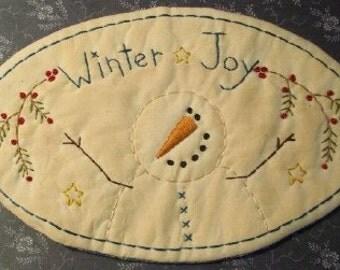 Primitive Stitchery PATTERN Snowman WInter Joy