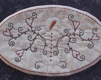 Primitive Stitchery Valentine Candle Mat Snowman And Hearts