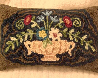 Primitive Needle Punch Pillow Urn Of Flowers