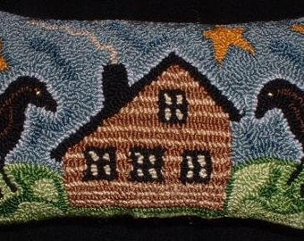 Primitive  Punch Needle PATTERN Crows and a Cabin