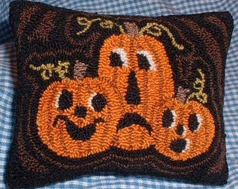 Primitive Needle Punch Pillow Pin Keep Fall Pumpkins