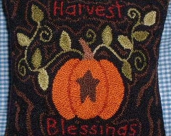 Primitive Needle Punch Pillow Harvest Blessings Pumpkin Star Fall
