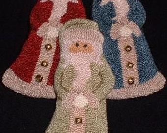 3 Needle Punch Santa Ornies - Bowl Fillers - Finished Primitive Santa Claus Ornaments