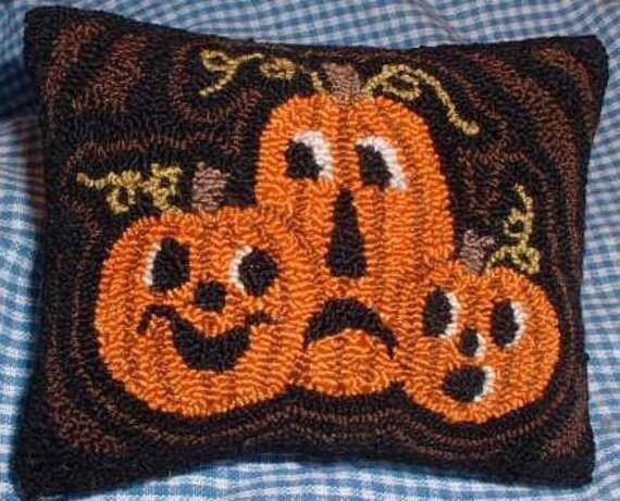 Primitive Needle Punch Pillow Pin Keep Fall Pumpkins