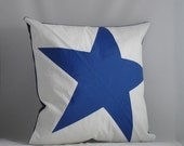 Nautical Recycled Sail Throw Pillow - Blue Star