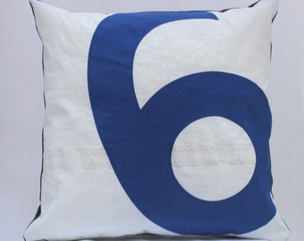 Recycled Sail Throw Pillow - Blue Number 6