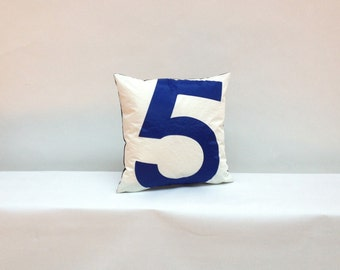 Sail Cloth Throw Pillow - Blue Number 5