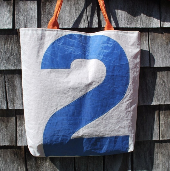 Recycled Sail Tote  Bag - Blue Number 2