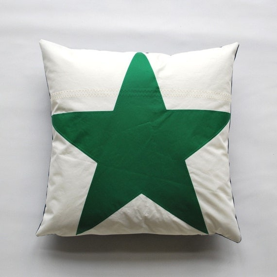 Items similar to Recycled Sail Green Star Throw Pillow on Etsy