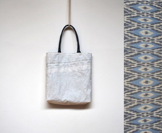 Upcycled Eco Sail Tote with Ikat lining