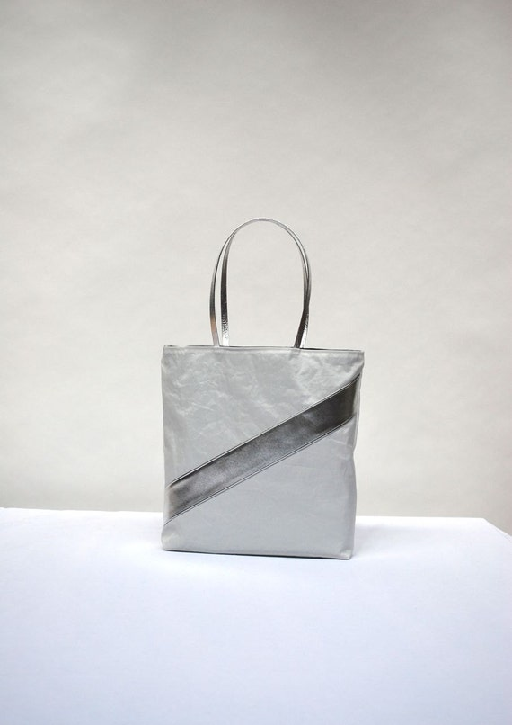 Recycled Sail Tote Bag - Silver Stripe