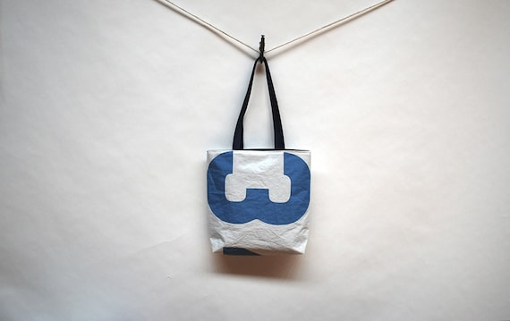 Recycled Sail Tote  Bag - Blue Number 3 4