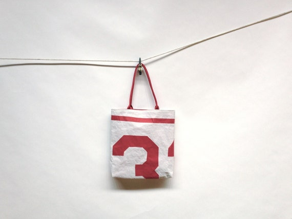 Upcycled Sail Tote - Red Stripe and Number 3