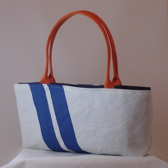 Recycled Sail Purse - Blue Stripe Shortie