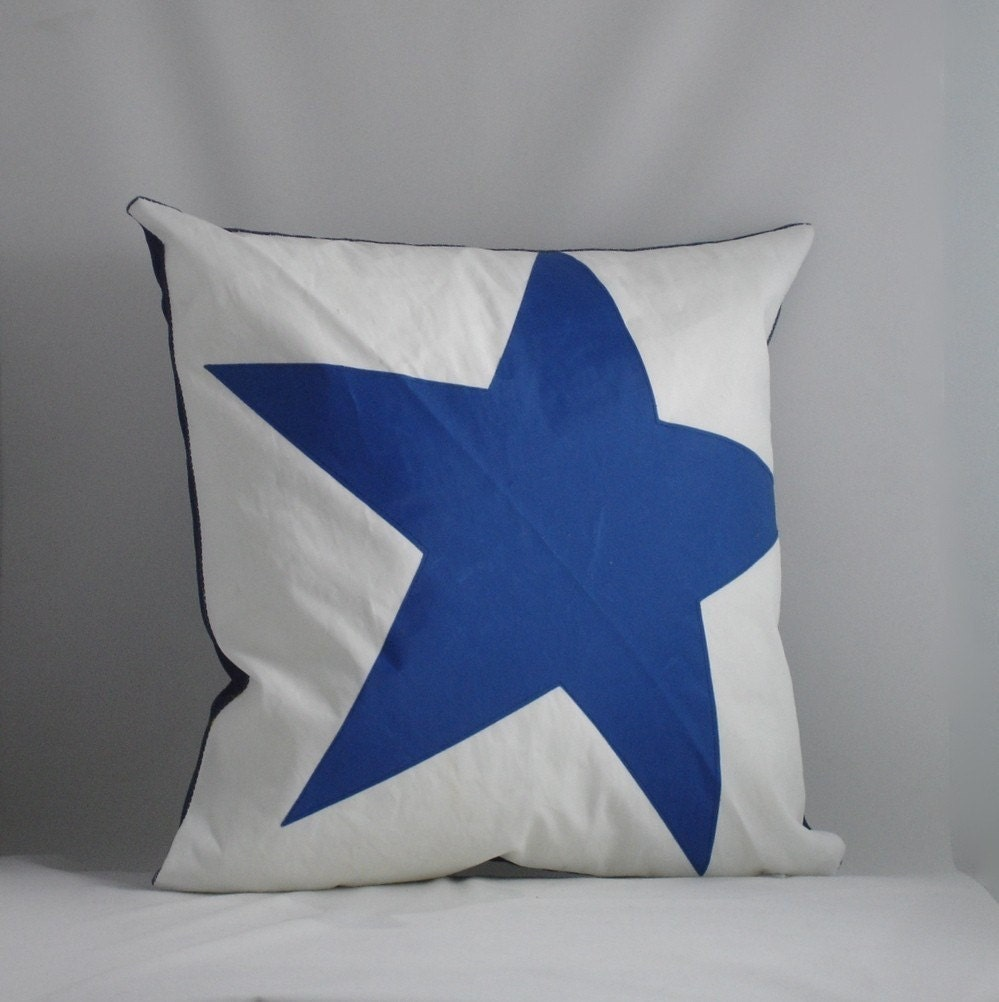 Nautical Coastal Throw Pillows : Nautical Recycled Sail Throw Pillow Blue Star