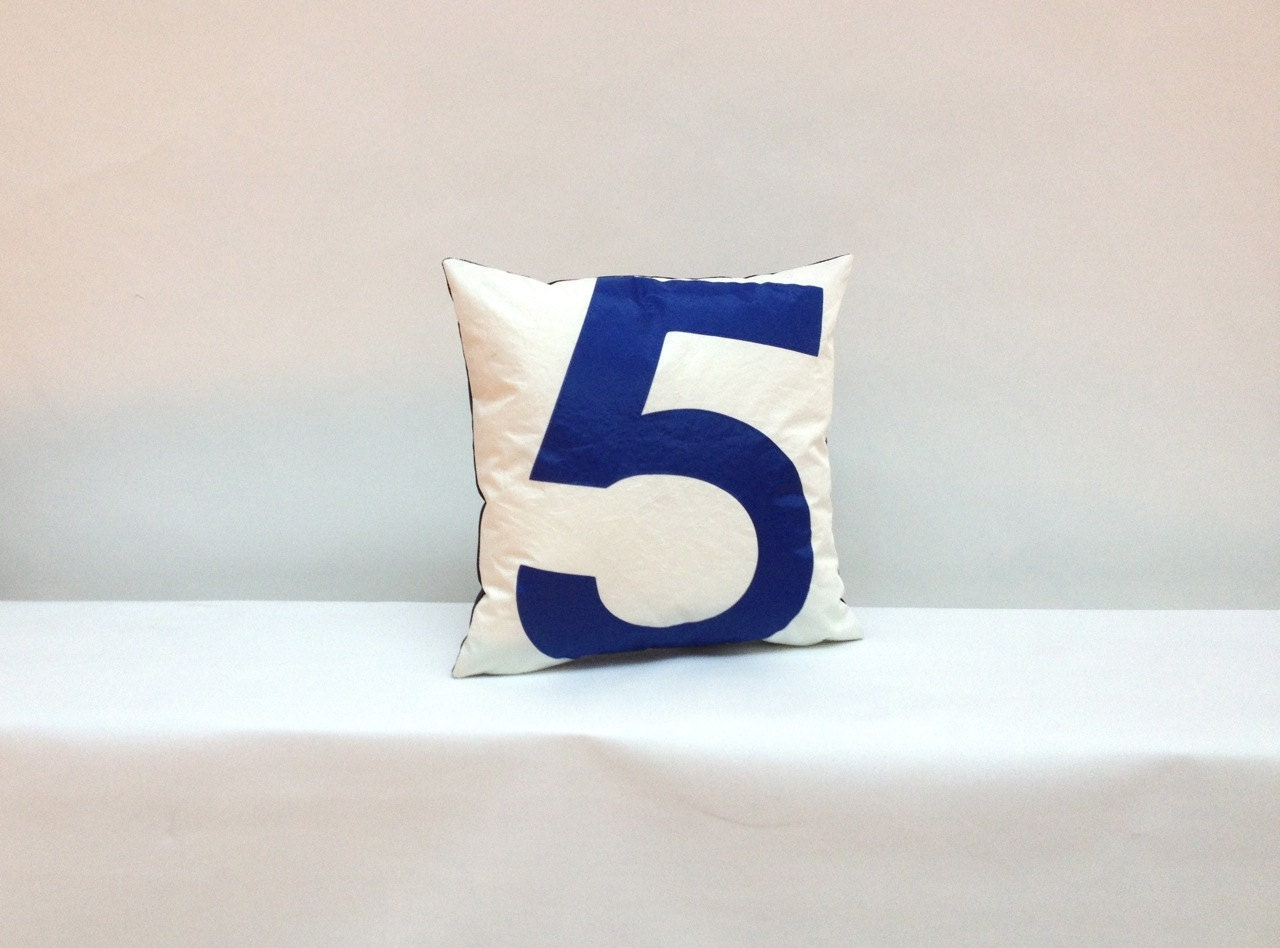 Throw Pillow With Numbers : Sail Cloth Throw Pillow Blue Number 5