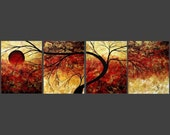 Abstract ART Gold Tree Contemporary Landscape Prints MADART on Etsy Set of 11x14s Bold Impression