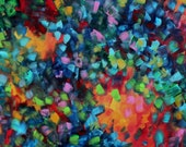 Abstract Modern Art Original Contemporary Painting HUGE  48x24  - Color Blast